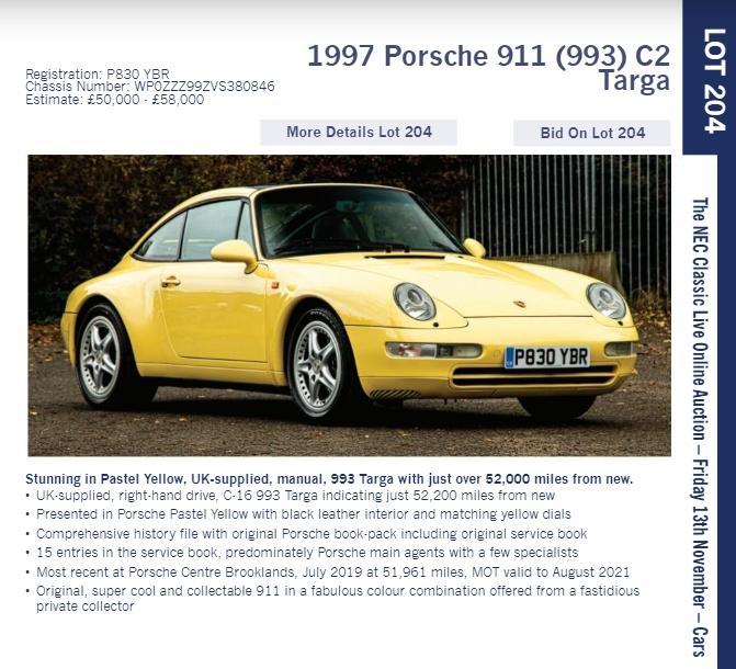 LOT 204 1997 Porsche 911 993 C2 Targa