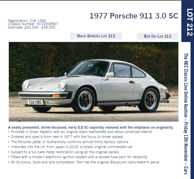 LOT 212 1977 Porsche 911 3.0 SC