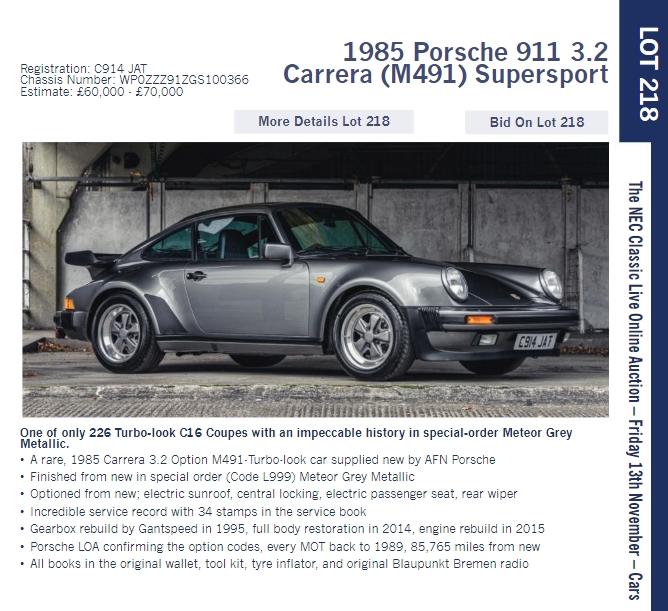 LOT 218 1985 Porsche 911 3.2 Carrera M491 Supersport