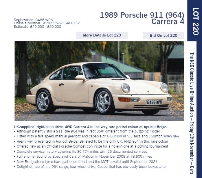 LOT 220 1989 Porsche 911 964 Carrera 4