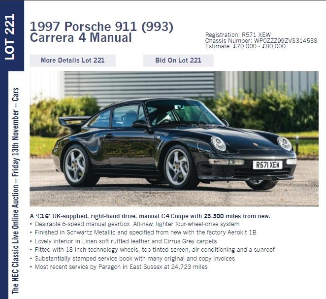 LOT 221 1997 Porsche 911 993 Carrera4 Manual