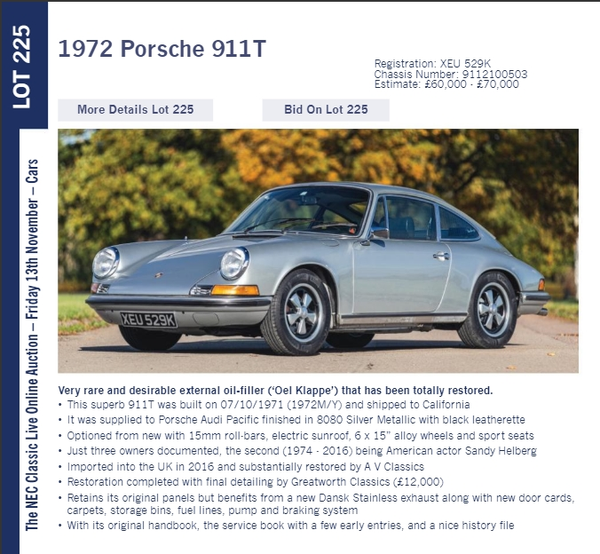 LOT 225 1972 Porsche 911T