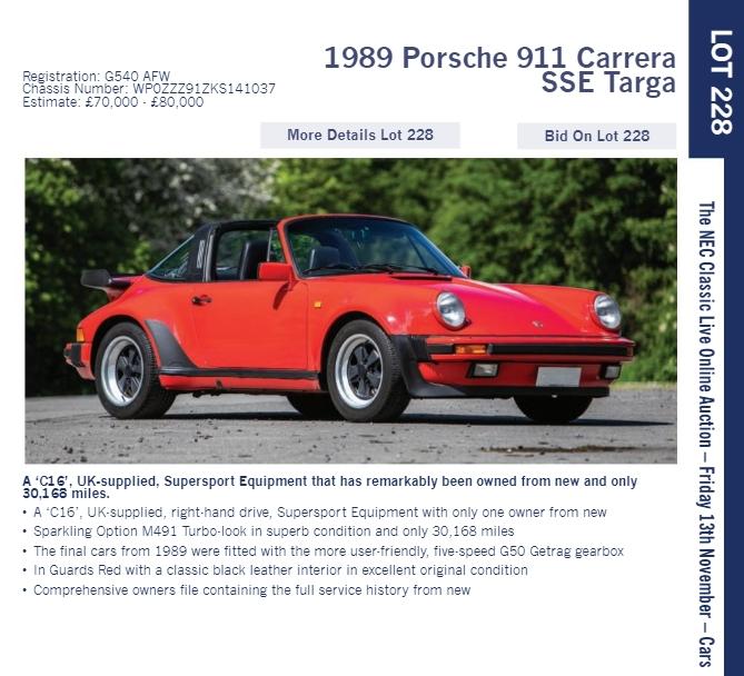 LOT 228 1989 Porsche 911 Carrera SSE Targa