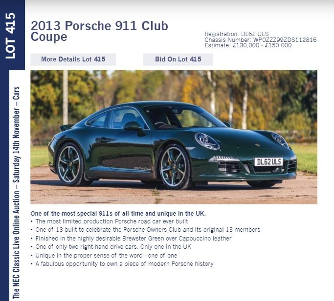 LOT 415 2013 Porsche 911 Club Coupe