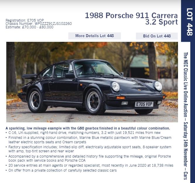 LOT 448 1988 Porsche 911 Carrera 3.2 Sport