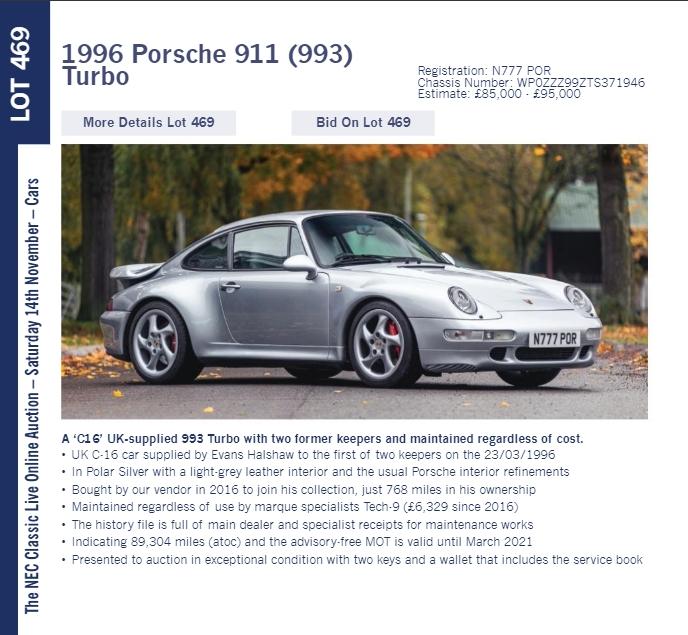 LOT 469 1996 Porsche 911 993 Turbo