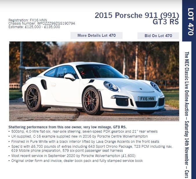 LOT 470 2015 Porsche 911 991 GT3 RS