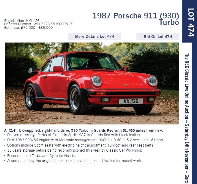 LOT 474 1987 Porsche 911 930 Turbo