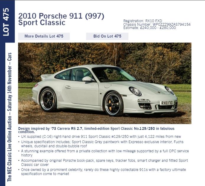 LOT 475 2010 Porsche 911 997 Sport Classic