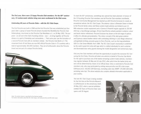 LOT NO. 415 - 2013 PORSCHE 911 CLUB COUPE Porsche Brochure